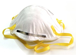 """N95 respirators like this one offer """"efficient filtration"""" of airborne particles, according to the FDA. Facing a shortage of them at hospitals nationwide, some caregivers wear a hand-sewn or other mask over top, to preserve the life of the N95. - FDA"""