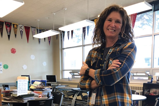 Anita Moore of Bend High's Future Center coordinates a small army of parent and community volunteers who work directly with junior and senior-level students. - NICOLE VULCAN