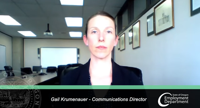 Gail Krumenauer, the communications director for the Oregon Unemployment Department has released a number of YouTube videos to respond to questions about claims made during the coronavirus crisis. - OREGON EMPLOYMENT DEPARTMENT
