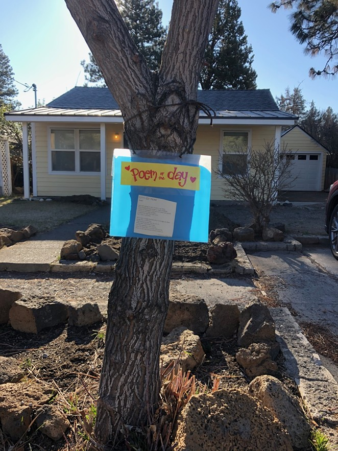 """Reader Tamara Houston sent this in, showing her Poem of the Day on her neighborhood tree, and wondered what other messages people might be sharing out there. (Hint: check out the next letter, discussing the sign at Azura salon.) The poem is Rumi's """"Let's Go Home."""" - TAMARA HOUSTON"""