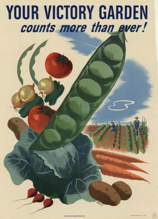 American WWII-era poster promoting victory gardens - WIKIMEDIA