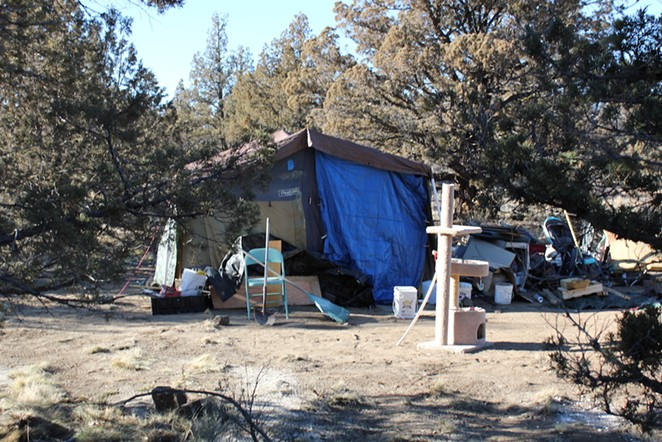 An established camp site at Juniper Ridge. Currently, 25-30 camps remain in the wooded area at the end of Cooley Road. - LAUREL BRAUNS - FILE PHOTO