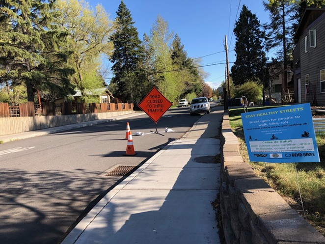 """NE 6th St. in Bend, one of several Neighborhood Greenways that the City of Bend has identified as 'Stay Healthy Streets,"""" aimed at encouraging more pedestrian activity during the pandemic. - NICOLE VULCAN"""