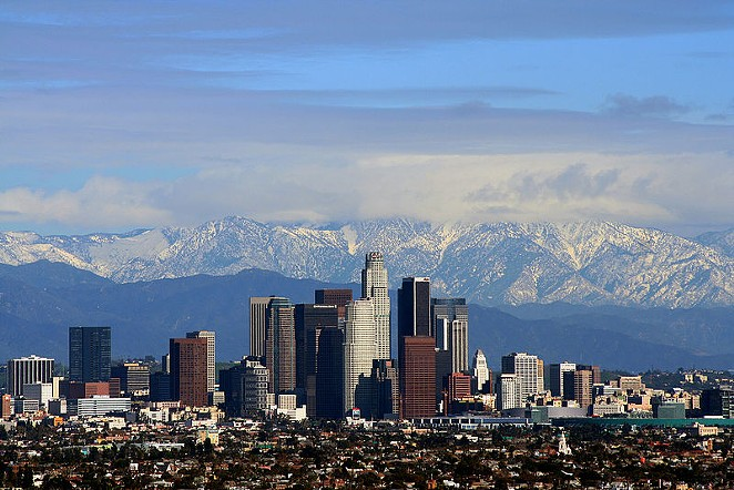 Downtown Los Angeles, California, with the San Gabriel Mountains in the background. - WIKIMEDIA