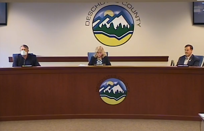 From left: County Commissioners Phil Henderson, Patti Adair and Tony DeBone meet for their regularly scheduled Wednesday board meeting. - DESCHUTES COUNTY