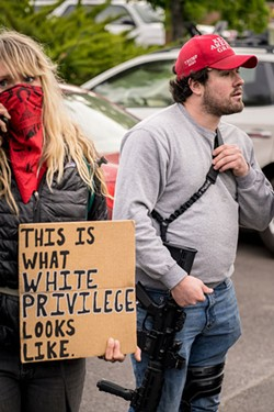 A scene from Bend's protests this weekend. Photo by @tandytimes - GRANT TANDY
