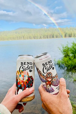 There are few things more beautiful than a trio of ice cold ciders relaxing by a Central Oregon lake. - COURTESY OF BEND CIDER CO.