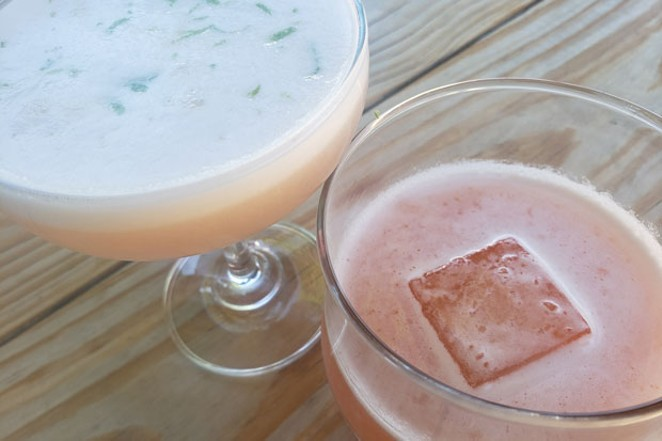 The Rhubarb Shrub and a Whiskey Ginger, which is made with fresh ginger root syrup and Buffalo Trace whiskey. - CAYLA CLARK