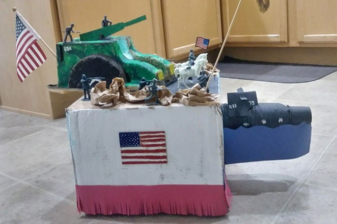 """A shoebox float from the Kolbert family, titled """"United We Stand."""" - COURTESY REDMOND CHAMBER OF COMMERCE"""