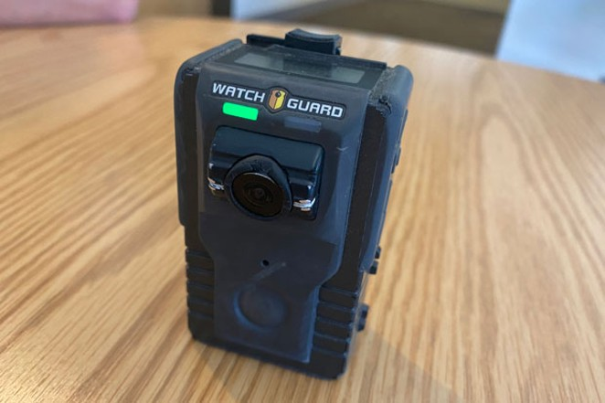 The Redmond Police Department uses body cameras made by WatchGuard which sync with the dashboard cameras in their patrol cars through WiFi. - LAUREL BRAUNS
