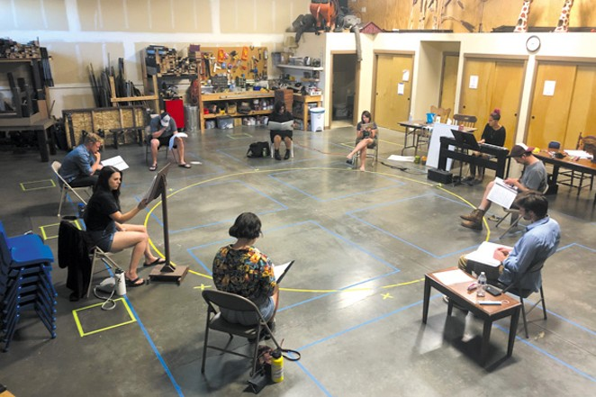"""Socially distanced thespians rehearse """"Songs For a New World,"""" which actors will perform drive-in style in the New Hope Church parking lot. - MUSICAL IMPRESSIONS STUDIOS"""