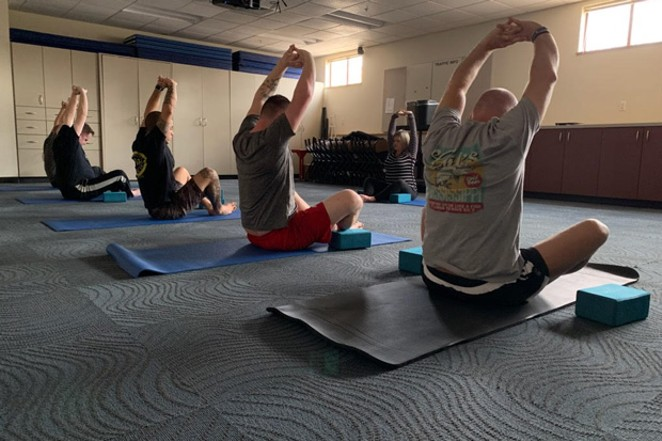 When time allows, officers from the Bend Police Department do yoga and workout with their team as part of their shift. Some classes focus on common injuries and aches for officers such as lower back pain and shoulder injuries. - BEND POLICE DEPARTMENT