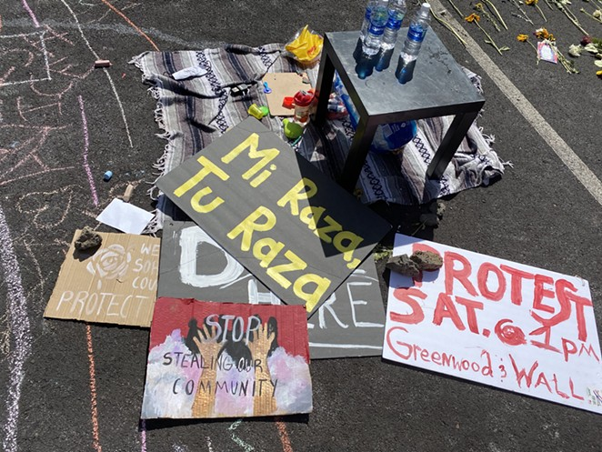 Signs left at the scene of the ICE protest in Bend the following day. - NICOLE VULCAN