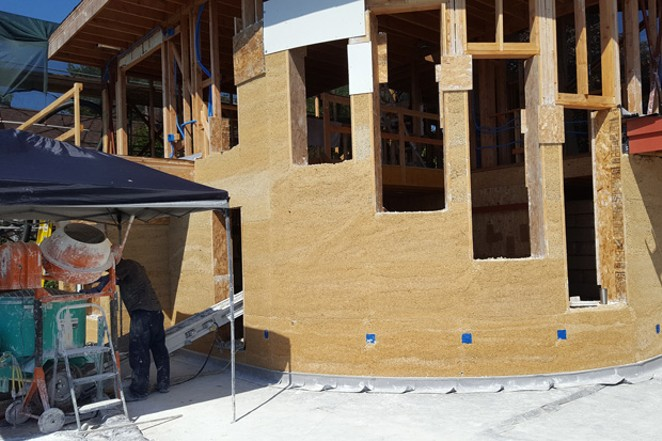 Hempcrete wall construction on Highland Hemp House in Bellingham, Washington. - CHRIS SULLIVAN