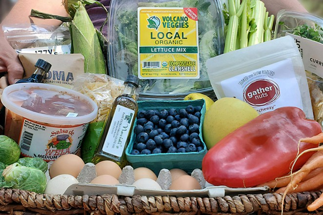One of Volcano Veggies' local produce and product-stuffed subscription boxes. - COURTESY VOLCANO VEGGIES