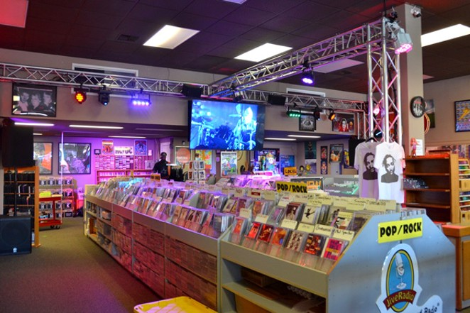 Owner Patrick Smith installed stage lights and revamped the store's stereo system, in hopes of one day hosting live concerts. - BY HANNA MERZBACH
