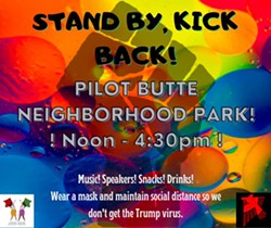 "Announcement for ""Stand by, Kick back!"" gathering at Pilot Butte posted at 5:13 am on Oct. 3. - CENTRAL OREGON PEACEKEEPERS"