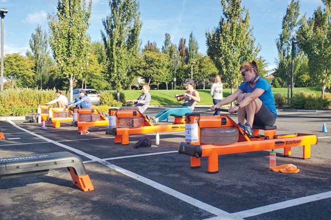 Earlier in the pandemic, Orange Theory moved its rowers outdoors. - COURTESY ORANGE THEORY