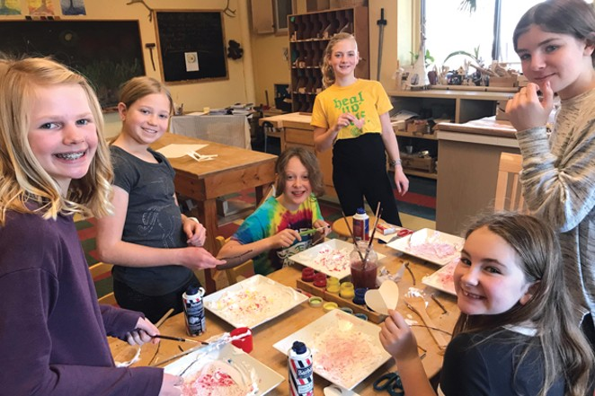 7th grade students at the Waldorf School of Bend having fun with shaving cream and food dyes. - NICOLE BLUME