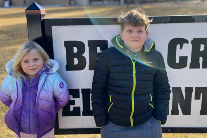 After months of sequester, Bear Creek Elementary students Nolan and Kia O'Connor are socially motivated and stoked to be back in the classroom. - SHANTI O'CONNOR