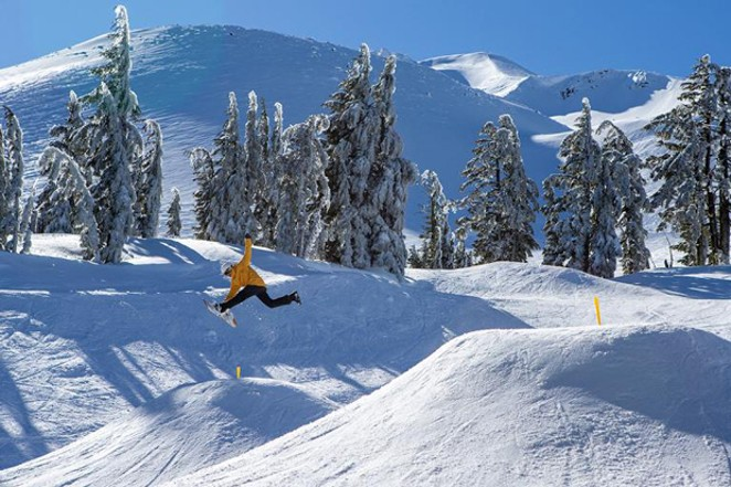 Riders at the opening celebration get the chance to have their freestyle moves captured on camera and shared on social media. - COURTESY MT BACHELOR