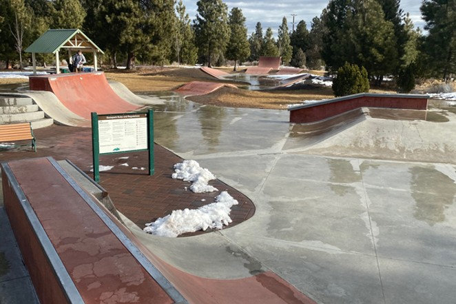 Larkspur's Ponderosa Skate Park is a big draw for youth—and adults alike... snow notwithstanding. - K.M. COLLINS