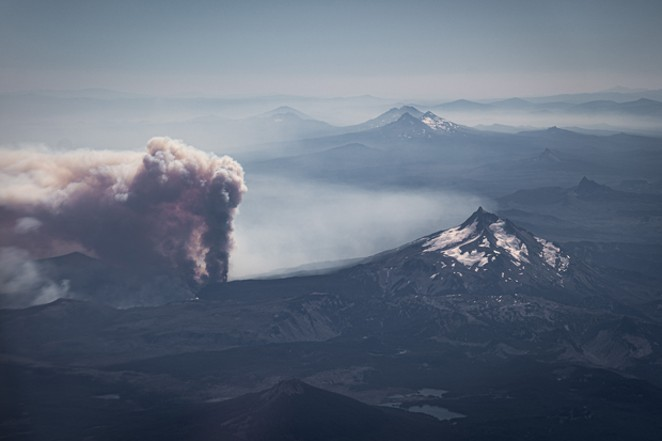 A view from above of the Lionshead Fire, started by lightning on the Warm Springs reservation. - LUCAS RIETMANN