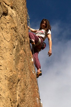 A broken arm led Moxie Hovorka to climbing. - SUBMITTED