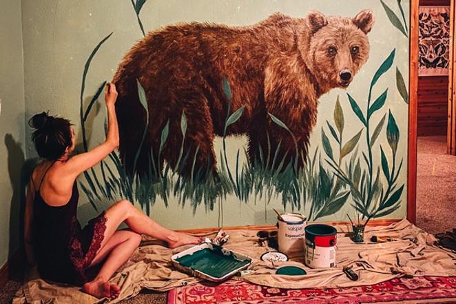 Bear painting by Karen Eland and botanicals by Katie Daisy. - KAREN ELAND