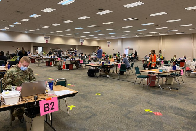 After Central Oregon expanded its eligibility requirements, the counties vaccinated about 3,000 people at the Expo Center on April 2. - HANNA MERZBACH