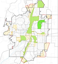 A map of the updated Enterprise Zones in Bend, illustrated in beige, show much territory being ceded across the city. The light green zones represent continuing Enterprise Zones and dark green as newly designated zones. Though a lot of Enterprise Zones will be lost, the city's largest industrial areas will maintain their status. - COURTESY OF DESCHUTES COUNTY