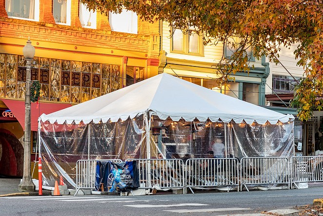Restaurant provides outdoor dining downtown due to COVID indoor restrictions in Snohomish, Washington. - COURTESY OF CINDY SHEBLEY