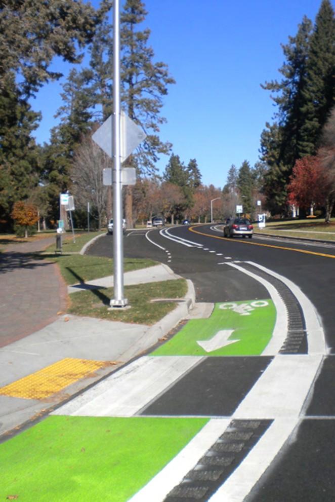 Painted bike lanes on Riverside Boulevard. - COURTESY CITY OF BEND