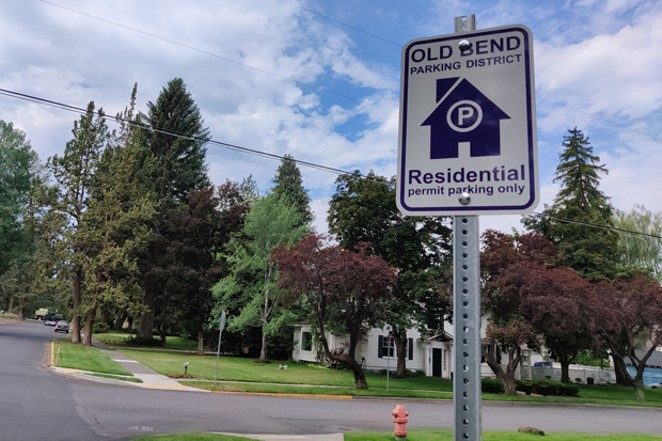 A sign showing that only residents can park in the Old Bend District are displayed throughout. Bend Parking Services Manager Tobias Marx said that more clear signage was one of the most frequent recommendations given in parking surveys of the area. - JACK HARVEL