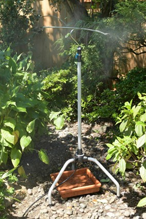 This is the Aeromist, a portable misting tower. - COURTESY SANDY LEAPTROTT