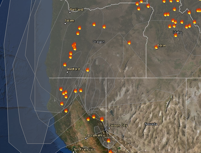 AirNow's tracker shows layers upon layers of smoke from multiple fires affecting Central Oregon and the rest of the state. - AIRNOW