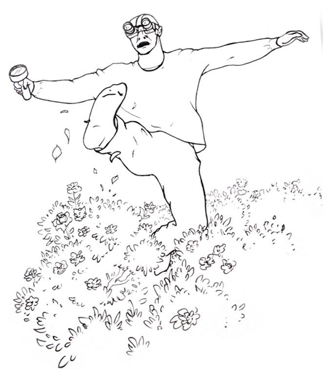 An illustration of Jim's antics by his son, Reuben Anderson. - REUBEN ANDERSON