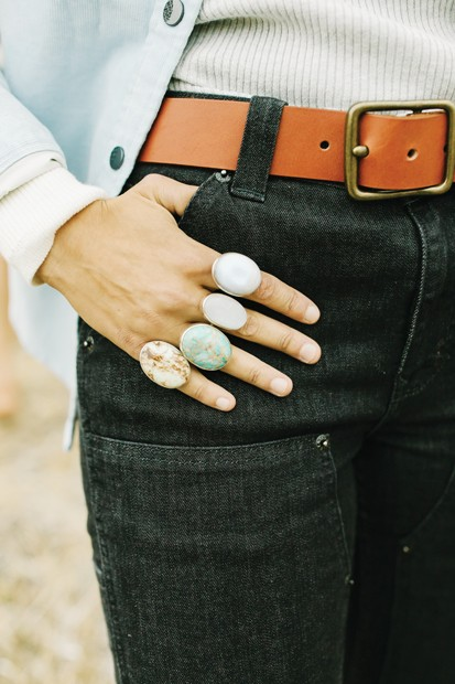 Bronwen  Gemstone Rings by WorldScout, $98   /  Outside In   Heritage Leather Belt in Oro Russet $89 - DREW CECCHINI