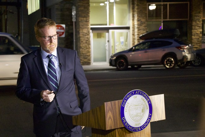 Deschutes County District Attorney John Hummel called a press conference on Thursday evening across the street from where Barry Washington, Jr. was shot on Sunday, Sept. 19. Hummel announced that a grand jury indicted the alleged shooter Ian Cranston on six charges, including second degree murder. - JACK HARVEL