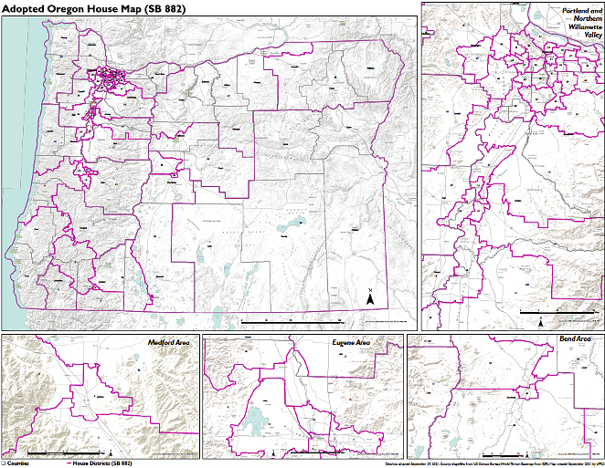 Bend's House District 54 shifted inward around the city and the surrounding areas were redistributed to other districts, including District 53, 55 and 59. - OREGON LEGISLATURE