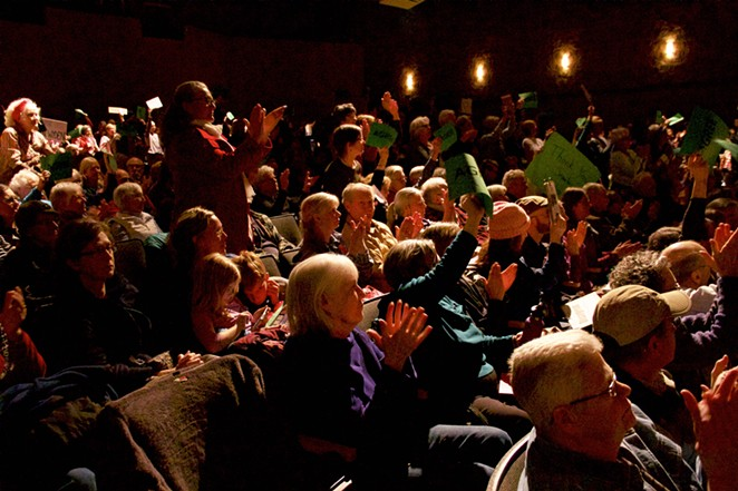 Organizers set up an overflow area for the 700+ who packed Sen. Ron Wyden's town hall in Sisters Monday evening. - NICOLE VULCAN