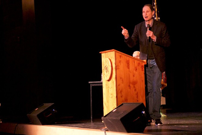 Senator Ron Wyden talks to the crowd at his town hall in Sisters Monday, Feb. 20. Wyden visited the Source Weekly on Wednesday. - NICOLE VULCAN