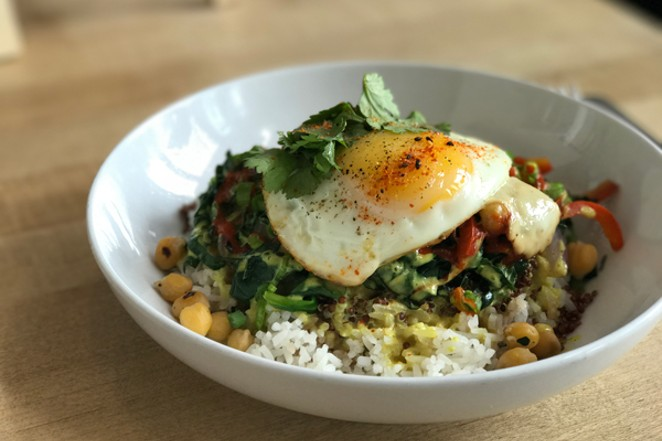 The Sunny Bowl is the most popular dish — it's a combination - of veggies, garbanzo beans, cilantro and quinoa served over jasmine rice with a coconut curry sauce. - LISA SIPE