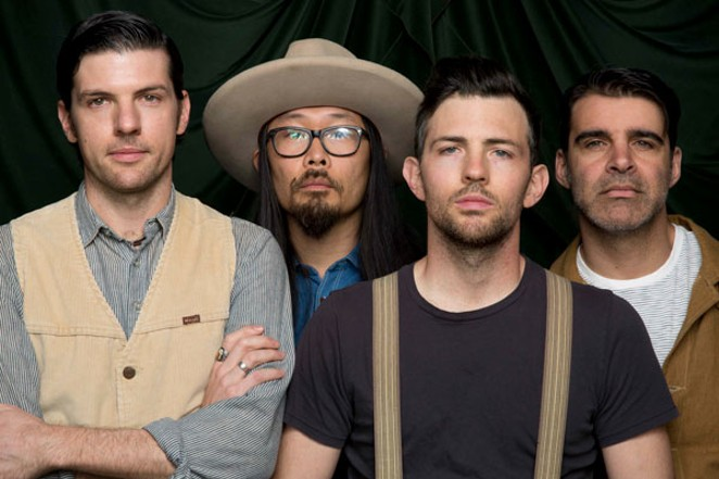 FROM LEFT, SETH AVETT, JOE KWON, SCOTT AVETT AND BOB CRAWFORD, ALONG WITH THREE OTHER BAND MEMBERS, PLAY LSA THIS FRIDAY.