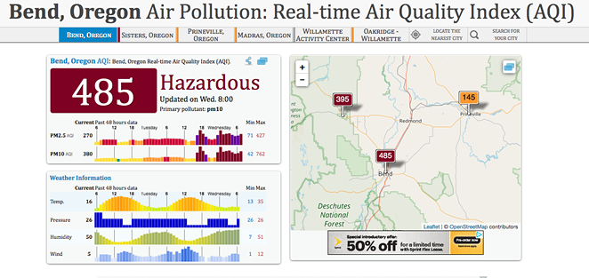 A screenshot of the air quality index for Bend as of 8 am Wednesday. - AQICN.ORG