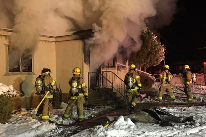 Everyone safely escaped this Feb. 24 fire that destroyed a home in Sisters. - COURTESY OF DESCHUTES COUNTY SHERIFF'S OFFICE