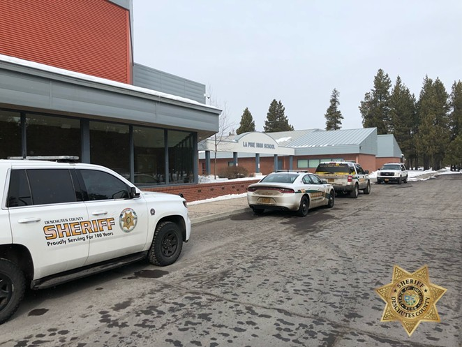 Extra officers arrived on scene at La Pine High School this morning as a precaution, following the alleged threat. - DESCHUTES COUNTY SHERIFF'S OFFICE