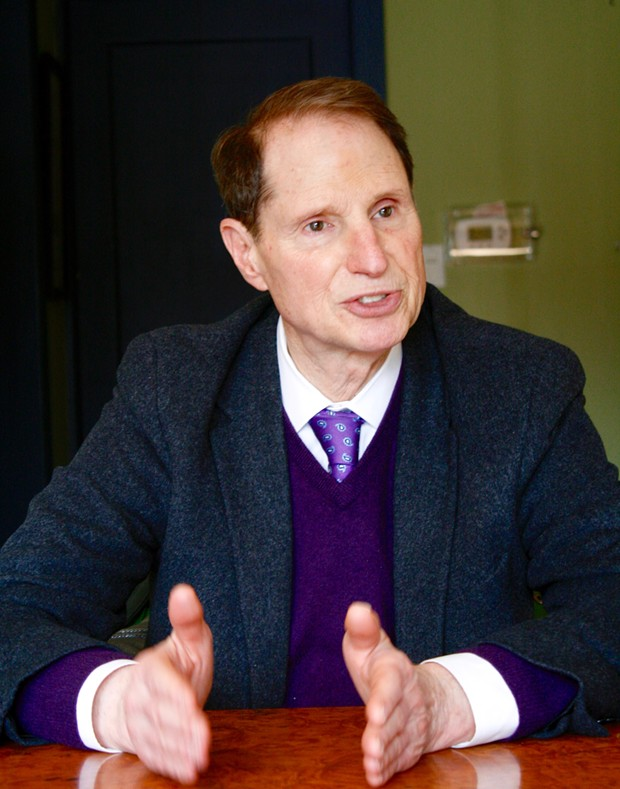 Senator Ron Wyden speaking to members of the Source on Friday, March 9. - CHRIS MILLER