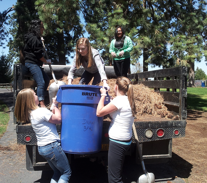 Pilot Butte Middle School students take part in community service work—a large component of IB learning at the school. - SUBMITTED