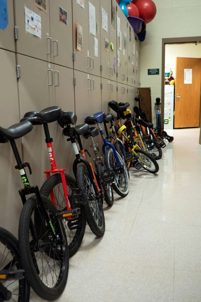 The unicycle-stocked hallway at Pine Ridge Elementary. - CHRIS MILLER